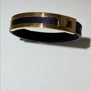 Hermès leather and gold tone bracelet